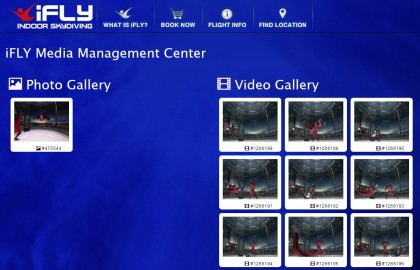 """This is the Download Page on the iFLY website. After clicking on the email's """"Download Flight Photos & Videos Here"""" link, I got to this page where I could download any of my flights' media."""