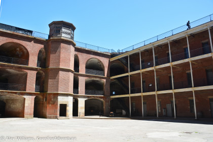 The inside of Fort Point has a large courtyard with beautiful brick work throughout.