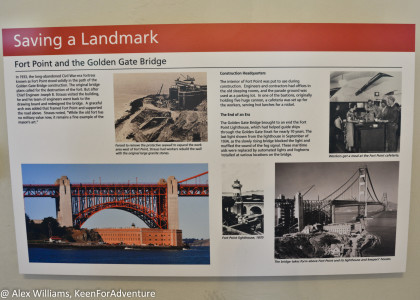 Information about Fort Point being saved from construction of the Golden Gate Bridge.