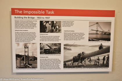 Information about the construction of the Golden Gate Bridge.