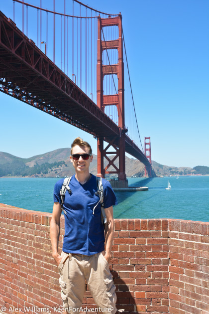 A fellow visitor was nice enough to take this picture of me top of Fort Point. This is the same view soldiers would have had protecting the Golden Gate.